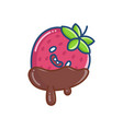 kawaii covered chocolate strawberry icon vector image