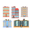 living buildings flat style urban houses with 3 vector image vector image