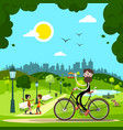 man on bicycle in city park with people and dog vector image vector image