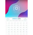 march 2019 calendar planner stationery design vector image