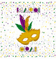 mardi gras poster with yellow carnival mask vector image vector image