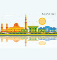 muscat skyline with color buildings blue sky and vector image vector image