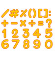 numbers and signs template in yellow color vector image