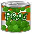 peas in round can vector image vector image