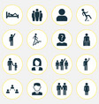 person icons set with profile pupil sleeping and vector image