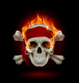 pirate skull in flames on black vector image vector image