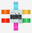 Puzzle with an old camera with elements vector image vector image