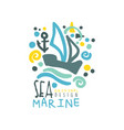 sea marine original logo design template with ship vector image vector image