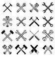 set of crossed saws hammers pistons wrench axe vector image vector image
