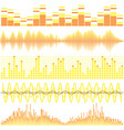 set of yellow sound waves vector image vector image