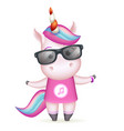 sunglasses happy girl unicorn isolated 3d cute vector image vector image
