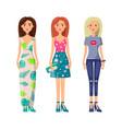 three cute ladies in vogue clothes image vector image vector image