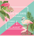 tropical flowers and flamingo summer wedding card vector image vector image