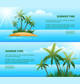 tropical island palm trees web banners vector image vector image