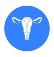 Uterus icon in black style isolated on white vector image vector image