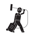 vacuum cleaner carrying black concept icon vector image vector image