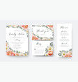 wedding floral invite thank you rsvp menu card set vector image