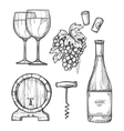 Wine making hand drawn set vector image