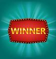 winner retro frame label banner template win vector image