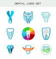Tooth logo set Dental medical healthcare symbols vector image