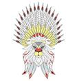 zentangle Lion with War Bonnet American native vector image