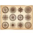 vintage nautical compasses icons set vector image