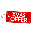 xmas offer label or price tag vector image