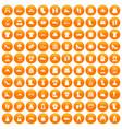 100 rags icons set orange vector image vector image