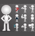 3d blank character cartoon empty isolated icons vector image vector image