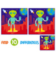 alien on mars find 10 differences vector image vector image