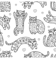 Art cats with floral ornament seamless pattern vector image