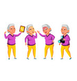 asian old woman poses set elderly people vector image vector image