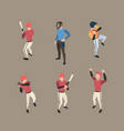 baseball players sport people running bases vector image vector image