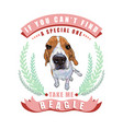 beagle dog sitting in frame leaves and ribbon vector image vector image