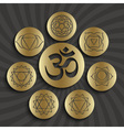 Chakra pictograms and symbol OM vector image vector image