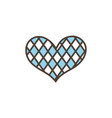 checkered heart oktoberfest icon line filled vector image