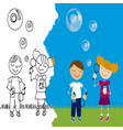 children playing with bubbles vector image