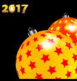 christmas decorated red and yellow baubles on vector image vector image