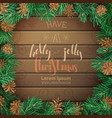 christmas pine frame on dark wooden background vector image vector image
