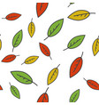 colorful leaves seamless pattern on white vector image vector image