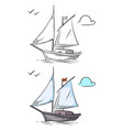 coloring ship hand drawn boat isolated on white vector image vector image