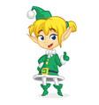 cute santa helper girl vector image vector image