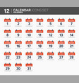 december calendar icons set date and time 2018 vector image vector image