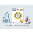 Flat household appliances background concept vector image vector image