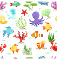funny underwater life with sea plants and fishes vector image vector image