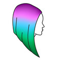 girl with colored hair woman head with colorful vector image