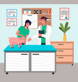 girl with piglet at reception at veterinarian pet vector image