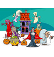 halloween holiday cartoon characters group vector image