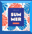 hello summer web banner tropical leaves vector image vector image