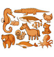 isolated set wild animals vector image vector image
